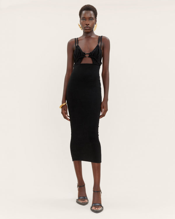 JACQUEMUS Pila Fitted Cutout Dress