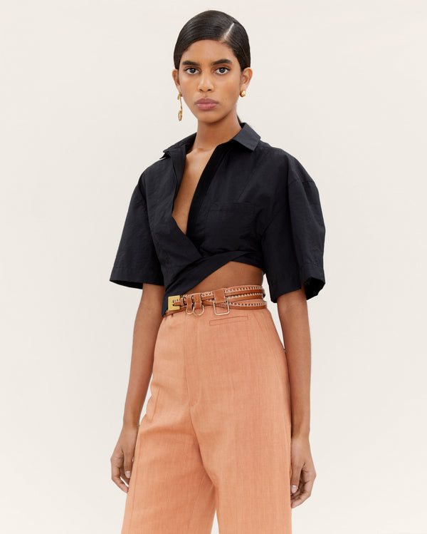 JACQUEMUS Capri Cropped Top - Black