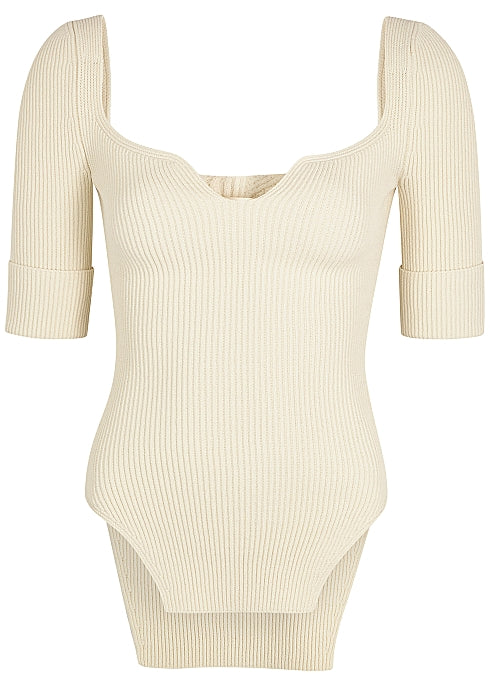 KHAITE Irina Ribbed Knit Top - Ivory