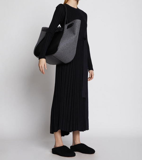 PROENZA SCHOULER Large Felted Ruched Tote - Black and Light Grey