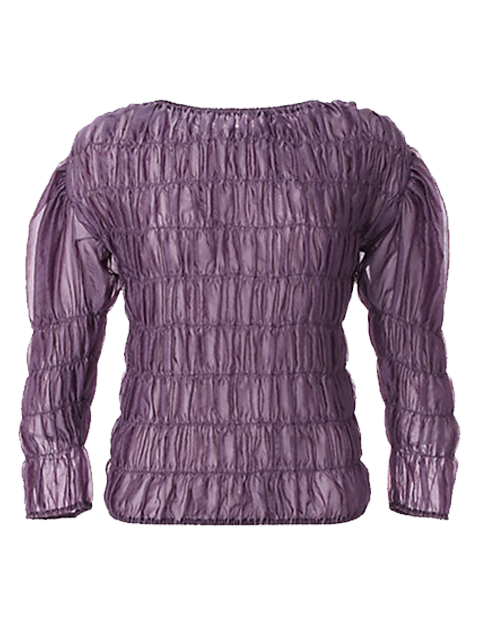 AKIRA NAKA Fey Sheer Shirred Pullover - Purple
