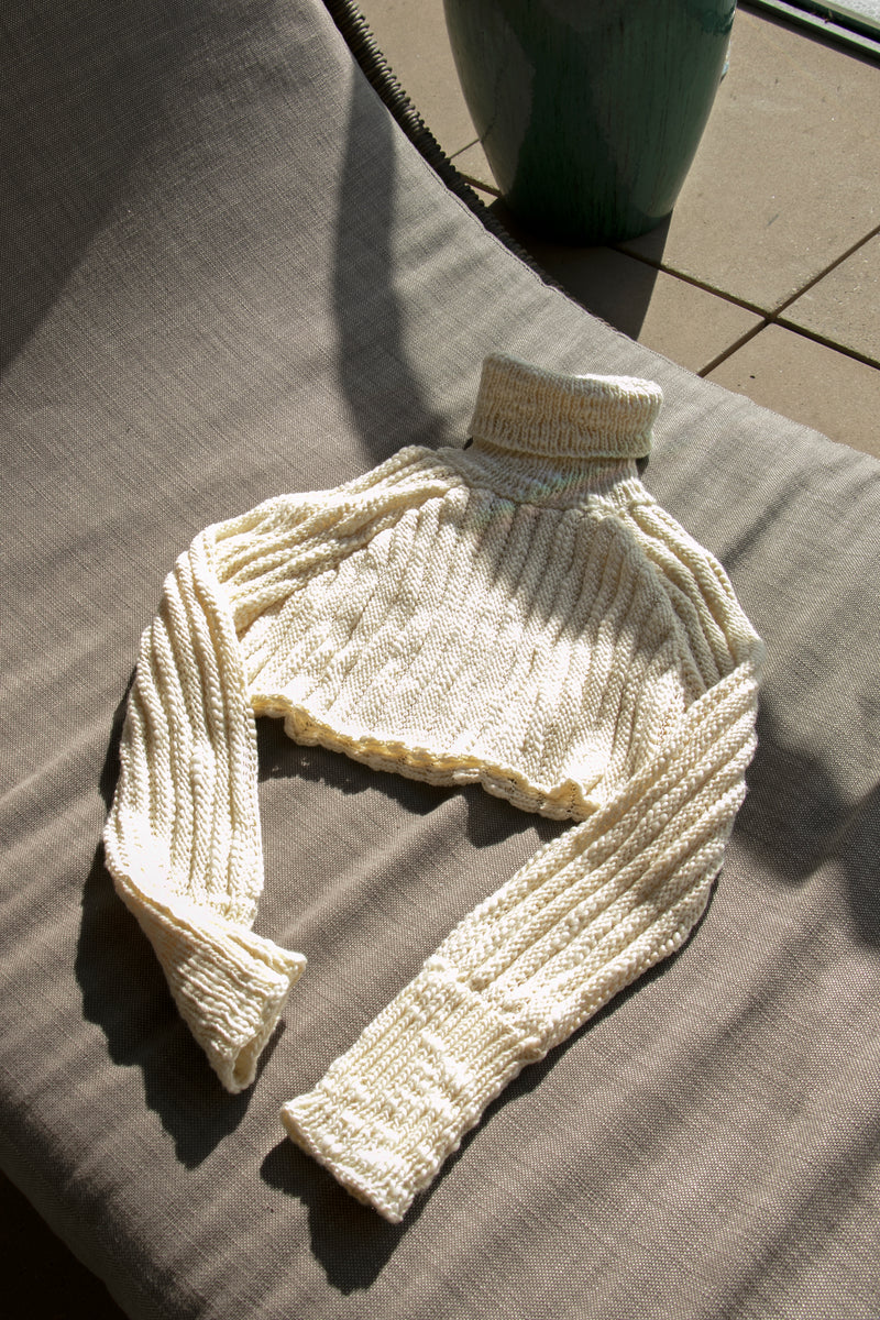 AISLING CAMPS Palm Cropped Sweater - Ivory
