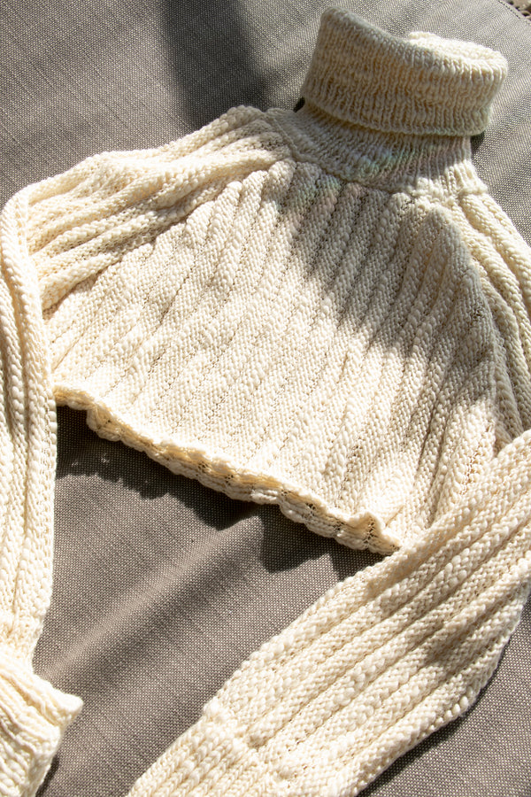 AISLING CAMPS Palm Cropped Sweater - Ivory (PRE-ORDER)