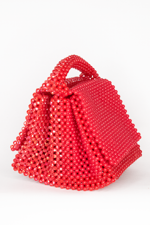 LISA FOLAWIYO Twin Small Crystalized Top Handle Bag- Red/Red
