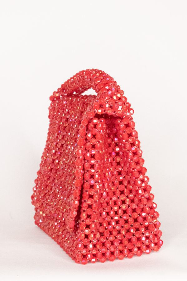 LISA FOLAWIYO Small Crystalized Top Handle Bag- Red