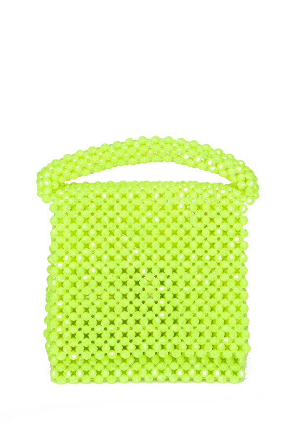 LISA FOLAWIYO Small Crystalized Top Handle Bag- Chartreuse