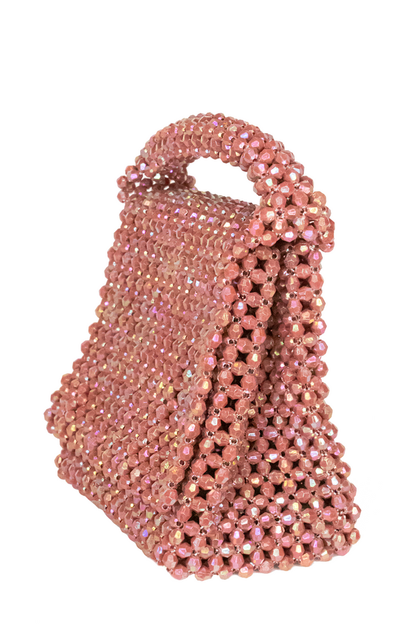 LISA FOLAWIYO Small Crystalized Top Handle Bag- Blush