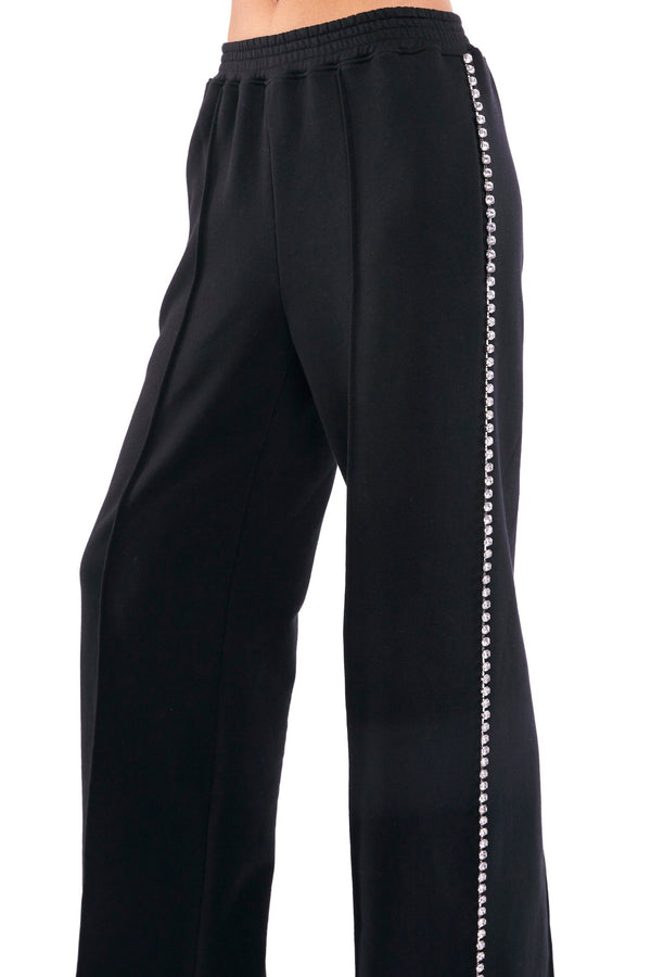 AREA Crystal Trim Wide-Leg Track Pants