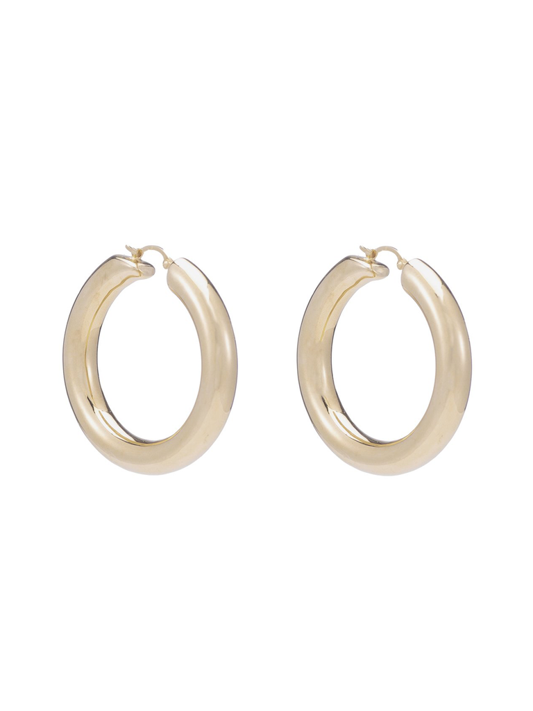 ARIEL GORDON Helium Hoops Up are electroformed in 14k gold