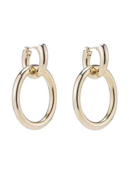 The ARIEL GORDON Linked Helium Hoops are electroformed 14k gold, meaning they are hollow but still very sturdy to wear everyday. Wear these as your everyday statement earring casually or dressed up for a chic cocktail hour.