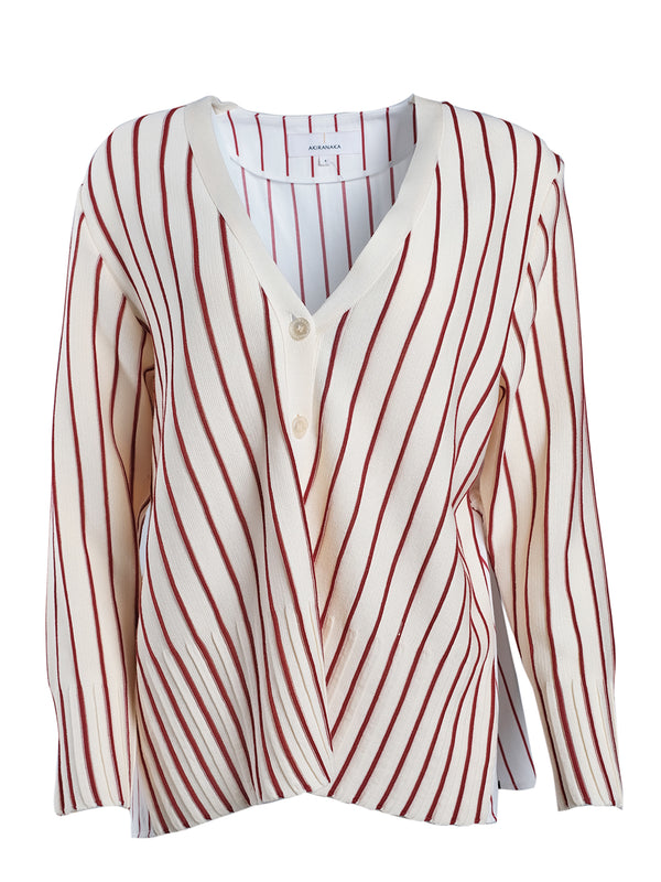 AKIRA NAKA Carey Combi Knit Cardigan / Ivory and Red