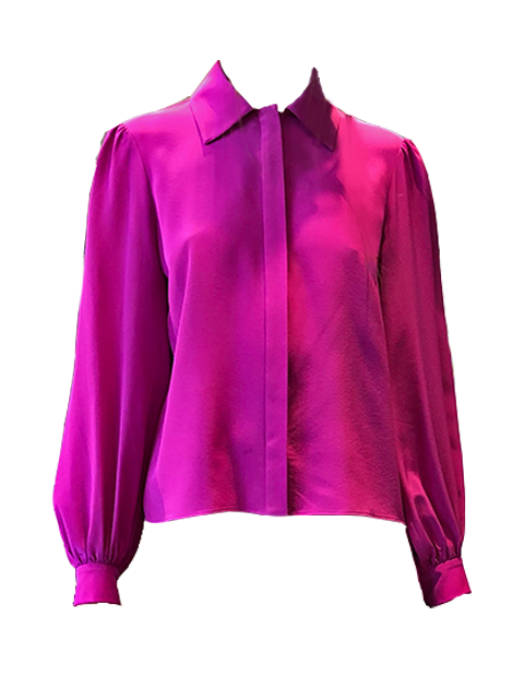 ARIAS Button Down Puff Sleeve Blouse - Fuchsia