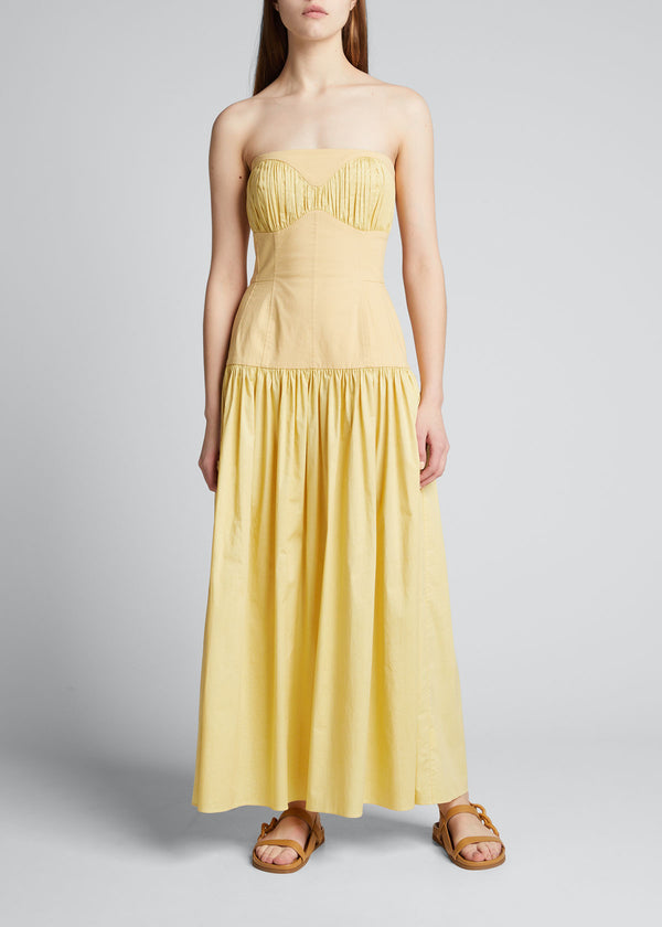 TOVE Lauryn Shirred Strapless Maxi Dress