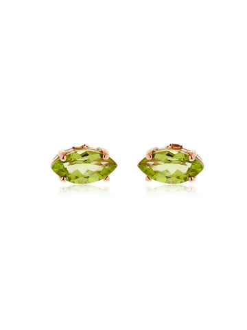 Bea Bongiasca Pair of Single Studs w/ Rose Gold and peridot