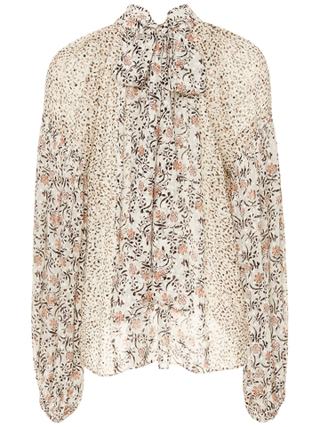 ULLA JOHNSON ORA BOW BLOUSE PEARL