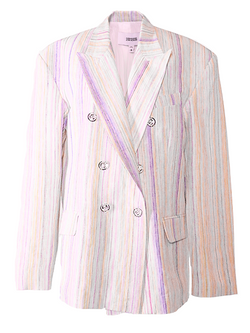 CHRISTOPHER JOHN ROGERS Double Breasted Jacket - Rainbow Stripe