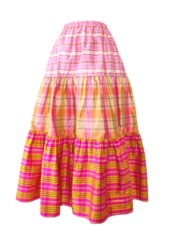CHRISTOPHER JOHN ROGERS Tiered Elastic Skirt - Hibiscus Multi