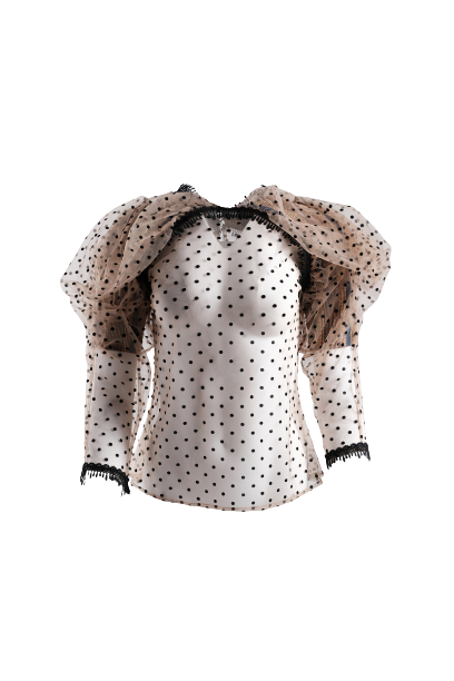 CHRISTIE BROWN Dramatic Sleeve Swiss Dot Blouse