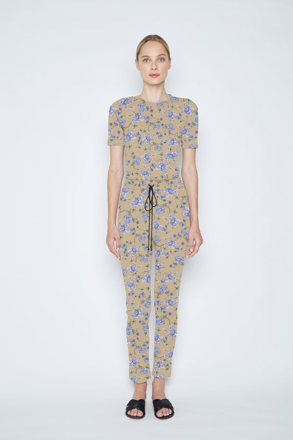 ARIAS Floral Print Drawstring Pant - Curry