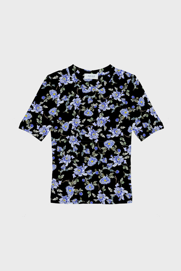 ARIAS Floral Organic Cotton T-Shirt - Black