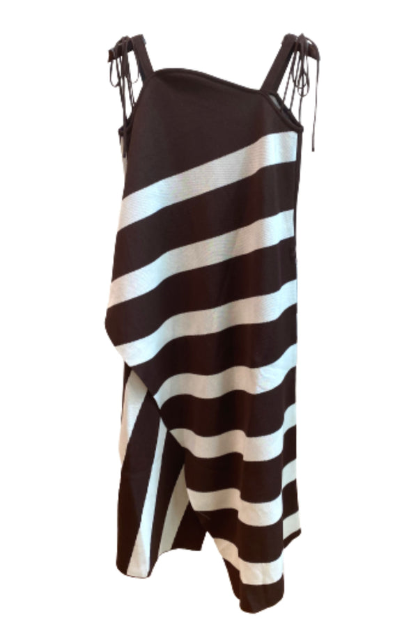 AKIRA NAKA Cynthia Stripe Knit Midi Dress