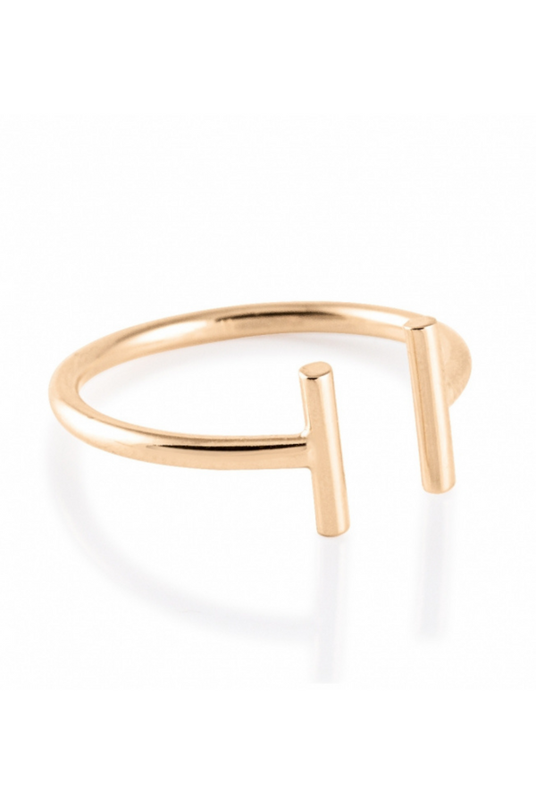 GINETTE NY Gold Strip Open Ring 18K Rose Gold