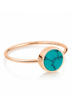 GINETTE NY Mini Ever Turquoise Disc Ring 18K Rose Gold