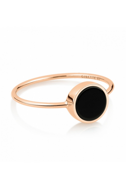 GINETTE NY Mini Ever Onyx Disc Ring 18K Rose GOld