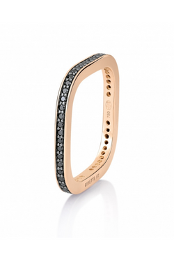 GINETTE NY Black Diamond TV Ring 18K Rose Gold
