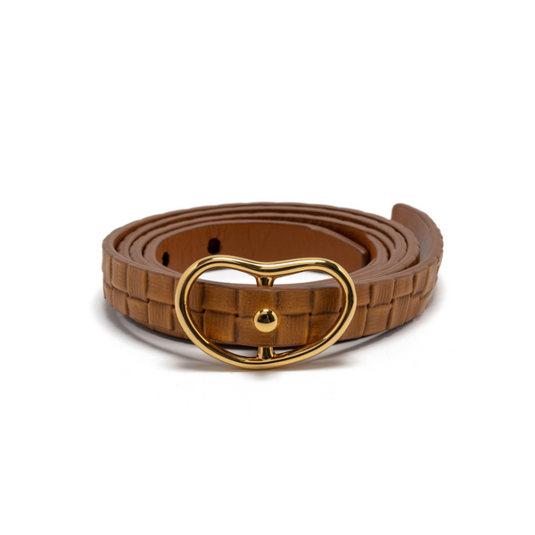 LIZZIE FORTUNATO Skinny Embossed Leather Belt