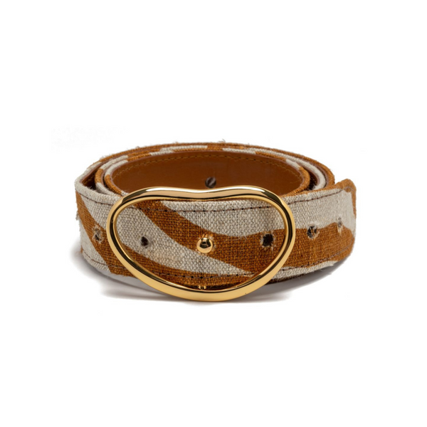 LIZZIE FORTUNATO Wide Georgia Belt in Bronze Zebra