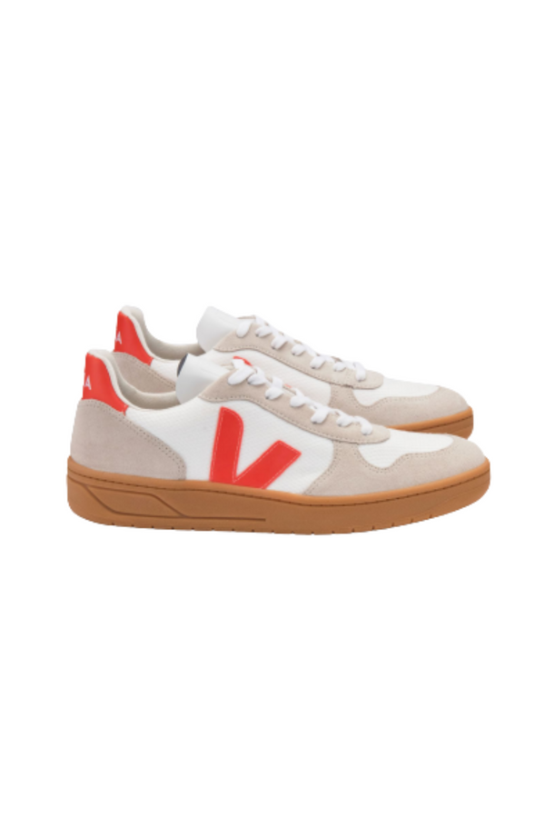 VEJA V-10 B-MESH - White/Orange Fluo/Natural