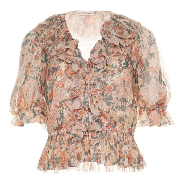 ULLA JOHNSON Ruby Floral Print Top