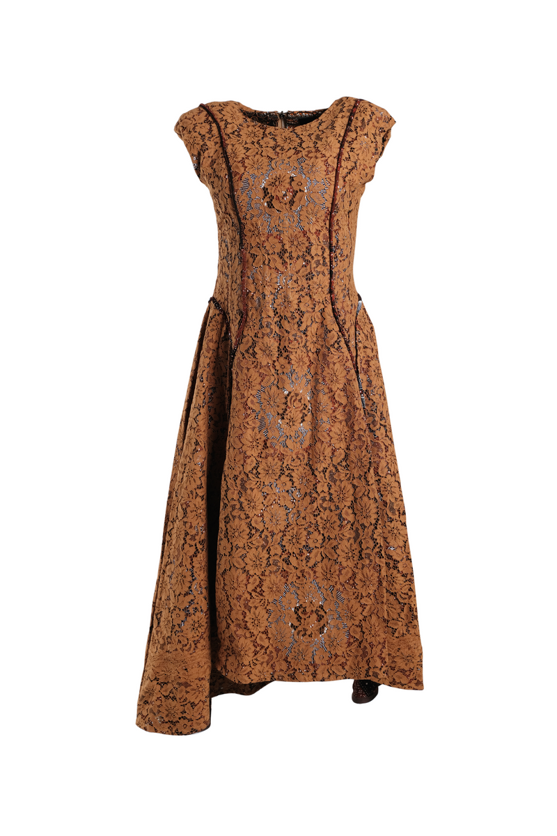 CHRISTIE BROWN Curry Lace Shoulder Padded Dress