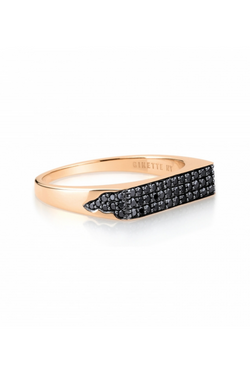 GINETTE NY Baguette Black Diamond Signet Ring 18K Rose Gold