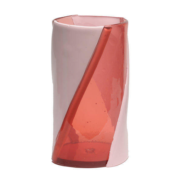 CORSI Large Twirl Vase in Clear Pink/Matte Pink