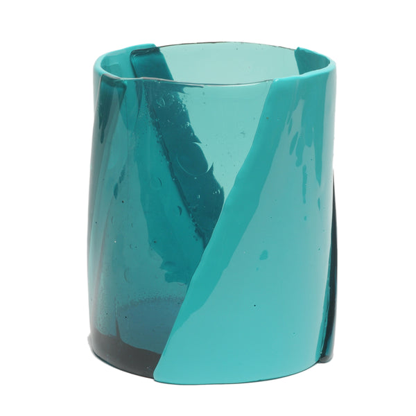 CORSI Medium Twirl Vase in Clear Aqua/Matte Turquoise