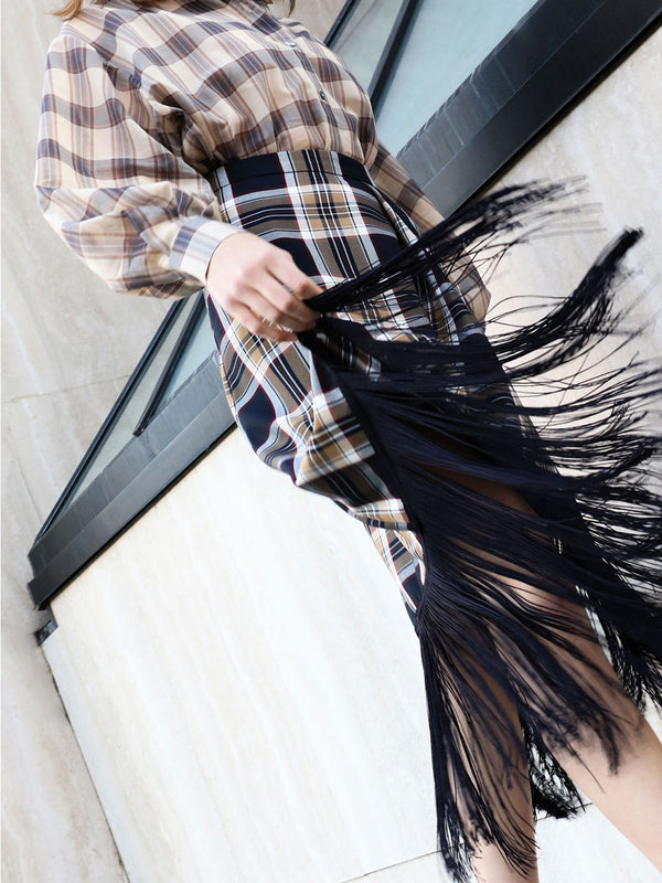 ROKH Fallow Check Tassel Skirt