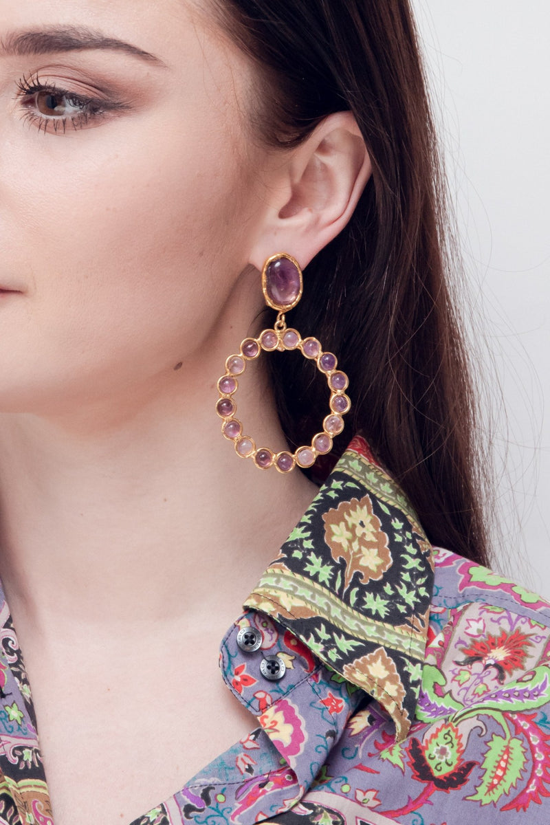 "SYLVIA TOLEDANO Earrings ""Happy"" / Amethyst"
