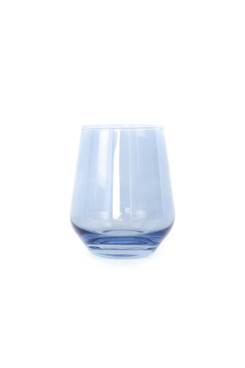 Estelle Colored Glass Wine Stemless Set - Cobalt Blue