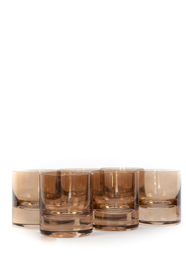 ESTELLE Rocks Glasses in Amber Smoke (Set of 6)