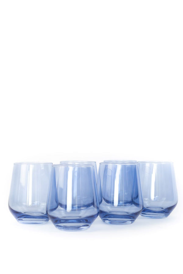 Estelle Colored Glass Wine Stemless in Cobalt Blue (Set of 6)