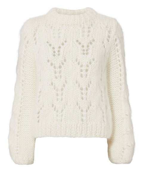 GANNI Julliard Mohair Sweater Cream