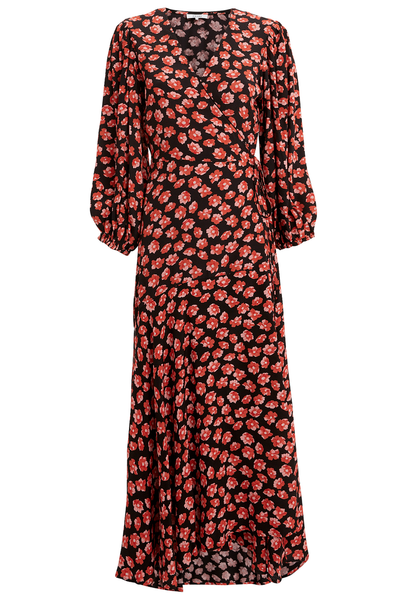 GANNI Printed Crepe Wrap Dress Fiery Red