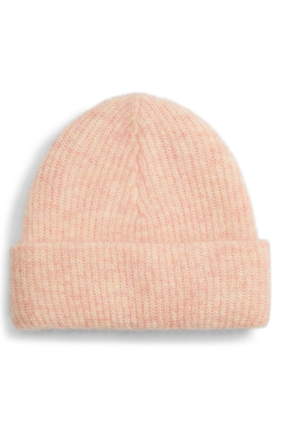 GANNI Soft Knit Silver Pink Wool Hat