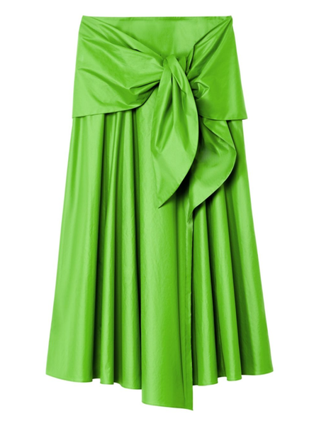 TIBI  Glossy Plainweave Grass Wrap Skirt W/ Removable Tie