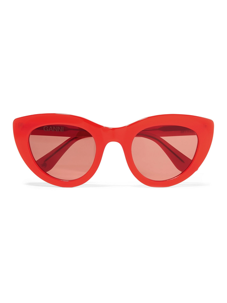 GANNI Triangle Sunglasses Fiery Red