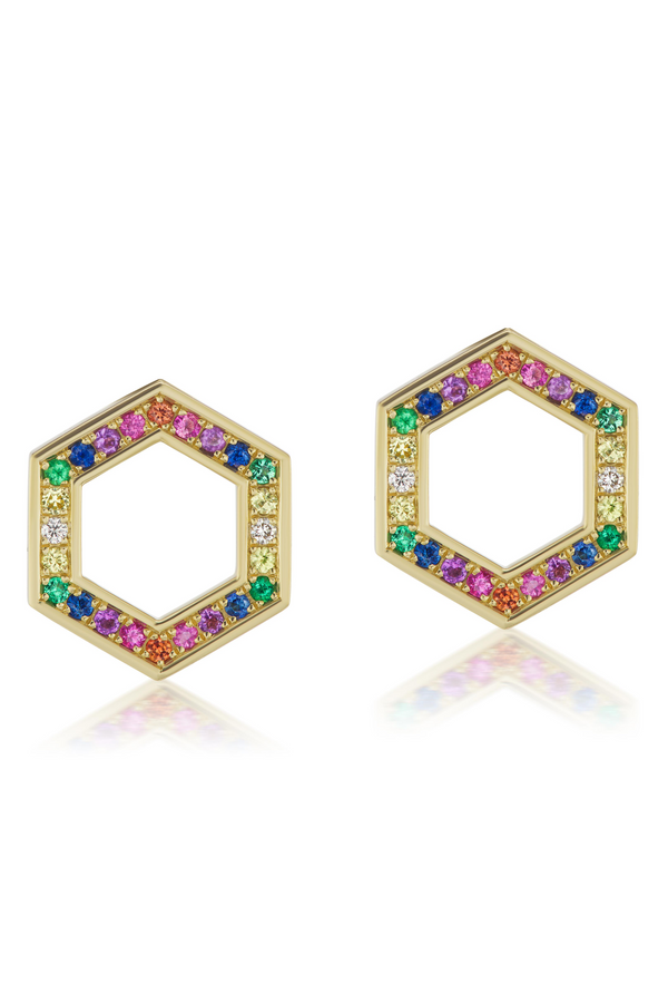 HARWELL GODFREY Colored Stone Hexagon Foundation Stud Earrings