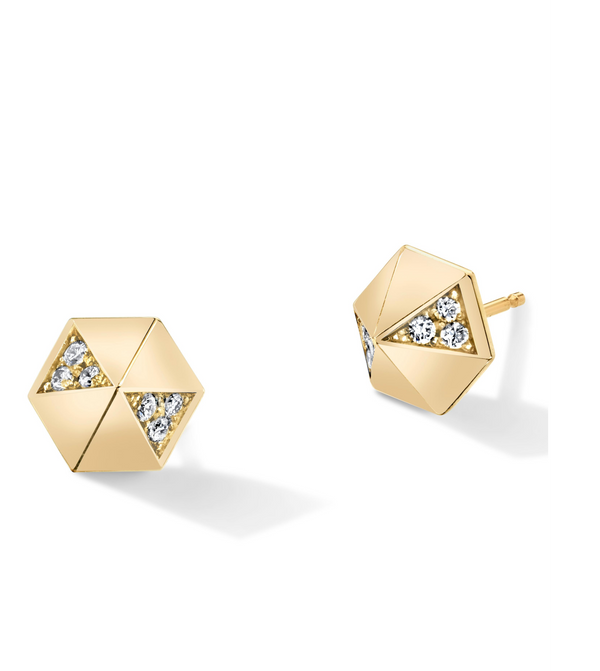 HARWELL GODFREY Diamond Hexagon Dome Studs in White Diamond