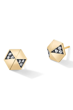 HARWELL GODFREY Diamond Hexagon Dome Studs in White Diamond/Black Rhodium